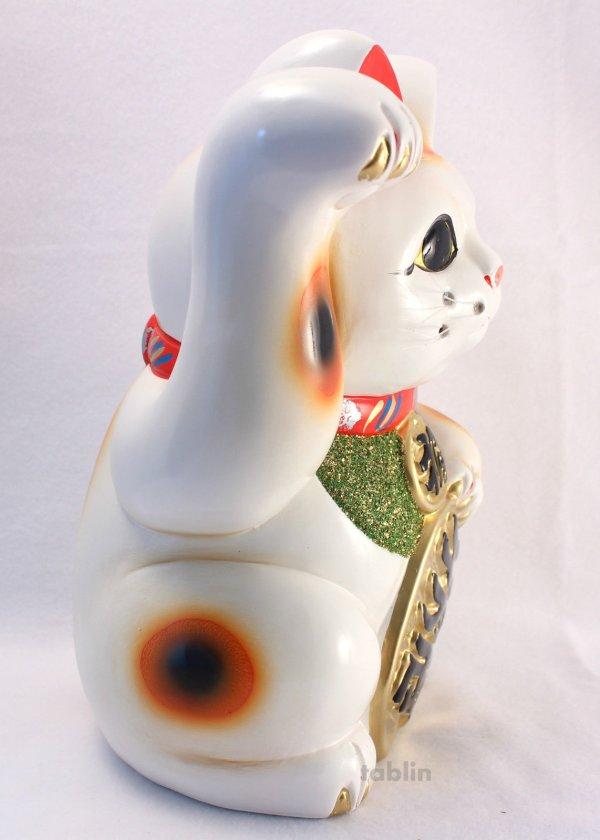 Photo4: Japanese Lucky Cat Tokoname ware YT Porcelain Maneki Neko koban H25cm