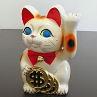 Japanese Lucky Cat Tokoname ware YT Porcelain Maneki Neko dollar ren white H19cm