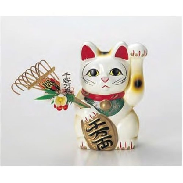 Photo4: Japanese Lucky Cat Tokoname yaki ware Porcelain Maneki Neko fuku High 7.5 inch