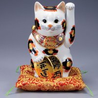 Japanese Lucky Cat Kutani Porcelain Maneki Neko koban kin mike H25.5cm