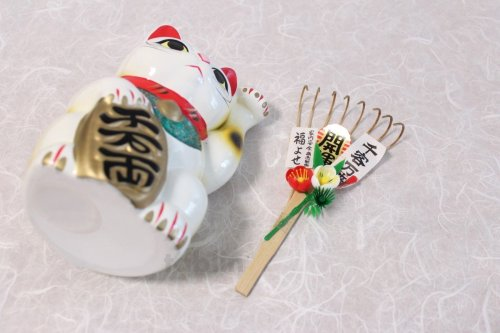 Other Images2: Japanese Lucky Cat Tokoname yaki ware Porcelain Maneki Neko fuku High 7.5 inch