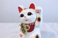 Japanese Lucky Cat Tokoname ware YT Porcelain Maneki Neko dance white H23cm