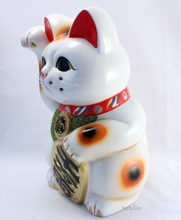 Photo3: Japanese Lucky Cat Tokoname ware YT Porcelain Maneki Neko koban H25cm