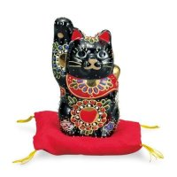 Japanese Lucky Cat Kutani yaki ware Porcelain Maneki Neko Black sakari H 10cm