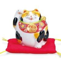 Japanese Lucky Cat Kutani yaki ware Porcelain Kenaga mike H 12cm