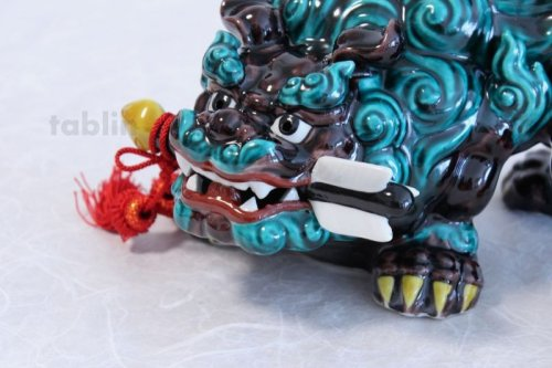 Other Images3: Japanese Leo Shishi Dragon Lion dog Kutani Porcelain arrow kochi green H23cm