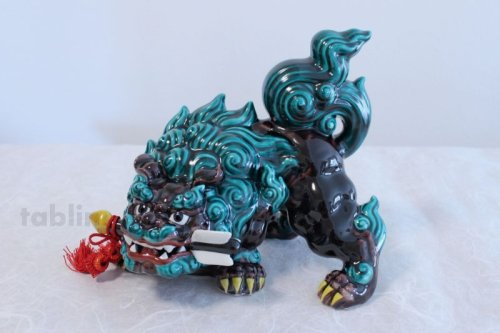 Other Images1: Japanese Leo Shishi Dragon Lion dog Kutani Porcelain arrow kochi green H23cm