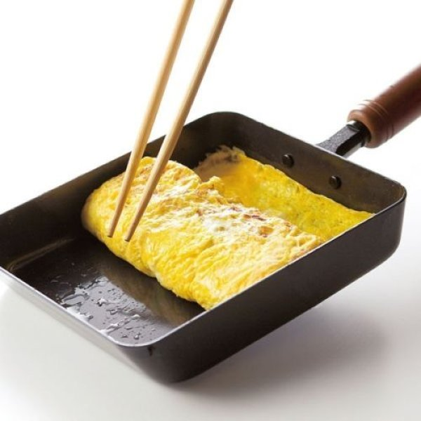 Photo1: Japanese Tamagoyaki Omelette Egg Frying Pan wooden handle Wahei made in Japan