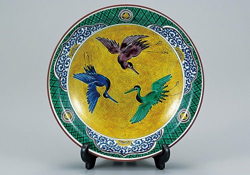 Other Images2: Kutani yaki ware Japanese plate made by Yoshidaya painting