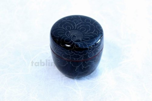 Other Images2: Tea Caddy Japanese Natsume Echizen Urushi lacquer Matcha container peony pattern