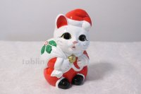 Japanese Lucky Cat Tokoname ware YT Porcelain Maneki Neko Santa Claus H19cm