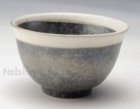 Shigaraki pottery Japanese soup noodle serving bowl black ginsai D135mm