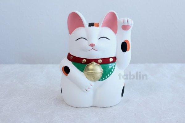 Photo1: Japanese Lucky Cat Tokoname YT Porcelain Maneki Neko Mansuke left hand H21cm