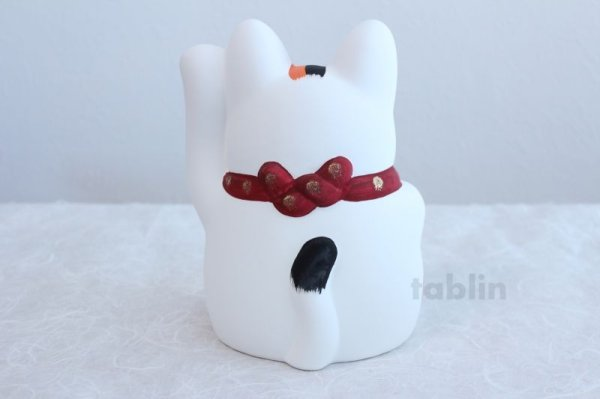 Photo3: Japanese Lucky Cat Tokoname YT Porcelain Maneki Neko Mansuke left hand H21cm