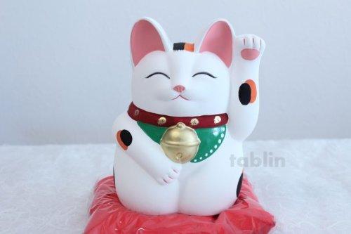Other Images2: Japanese Lucky Cat Tokoname YT Porcelain Maneki Neko Mansuke left hand H21cm