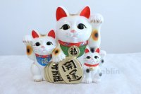 Japanese Lucky Cat Tokoname yaki ware Porcelain Maneki Neko three 10.2 inch