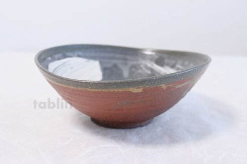 Other Images1: Shigaraki pottery Japanese soup noodle serving bowl akane tawami D200mm