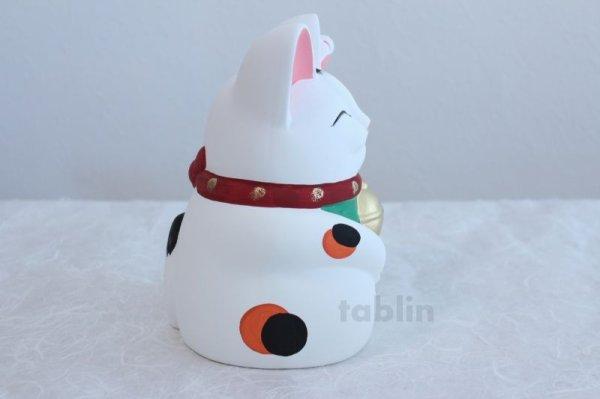 Photo4: Japanese Lucky Cat Tokoname YT Porcelain Maneki Neko Mansuke left hand H21cm