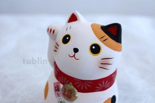 Other Images2: Japanese Lucky Cat Tokoname yaki ware Porcelain Maneki Neko fukuoide 3.5inch