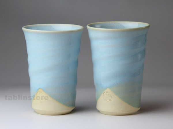 Photo1: Hagi pottery sake tumbler high chinshu tanso blue 360ml set of 2