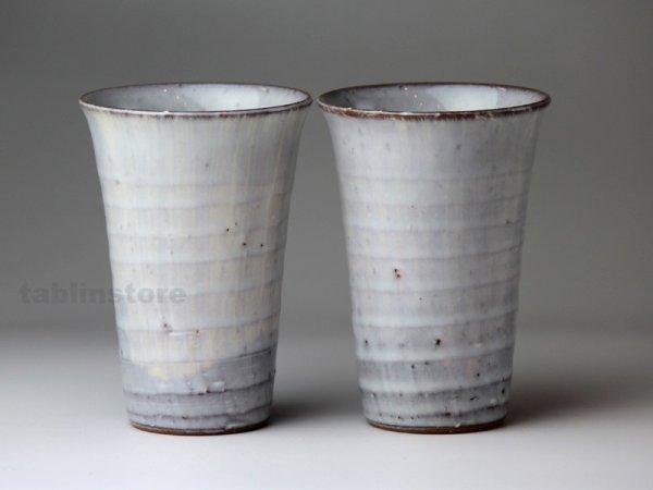 Photo1: Hagi pottery sake tumbler high kinugumo white 240ml set of 2