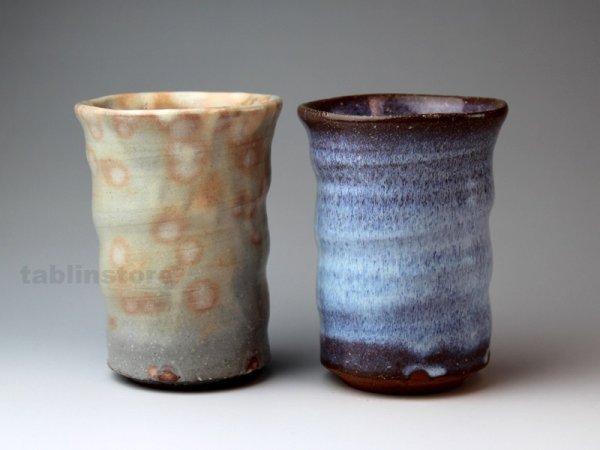 Photo1: Hagi pottery sake tumbler high sho hakuyu gohonte 350ml set of 2