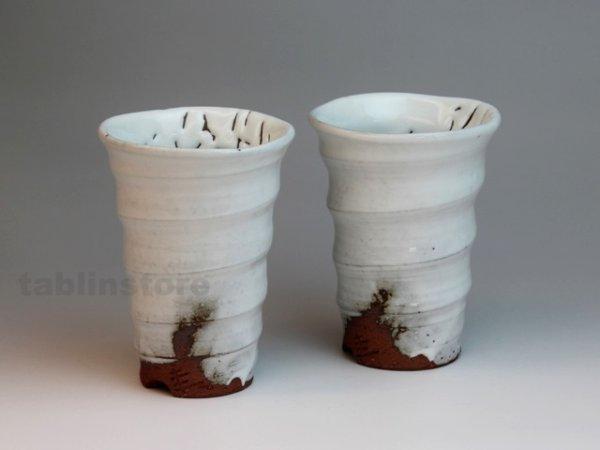Photo1: Hagi pottery sake tumbler high kairagi Keiichiro 320ml set of 2