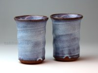 Hagi pottery sake tumbler high sho hakuyu 350ml set of 2