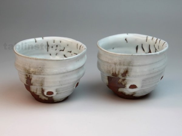 Photo1: Hagi pottery sake tumbler kairagi Keiichiro 300ml set of 2