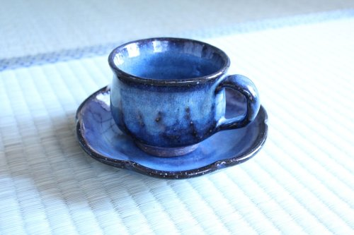 Other Images3: Hagi ware Japanese pottery mug coffee tea cup blue seigan with saucer 220ml