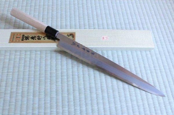 Photo1: SAKAI TAKAYUKI Japanese knife Tokujou Yasuki white-2 steel sashimi, Fugu, Takohiki