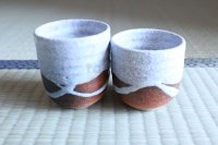 Shigaraki pottery Japanese tea cups tansetsu white glaze yunomi set of 2