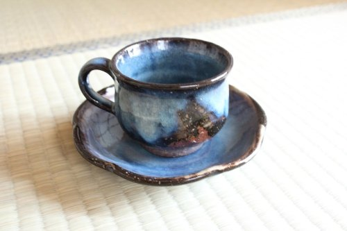 Other Images2: Hagi ware Japanese pottery mug coffee tea cup blue seigan with saucer 220ml