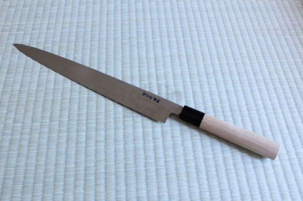 Photo2: SAKAI TAKAYUKI Japanese knife Tokujou Yasuki white-2 steel sashimi, Fugu, Takohiki
