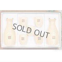 Takumi Maru Japanese wooden Sake bottle & cups hinoki cypress set of 7 Gift