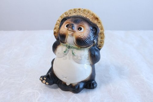 Other Images1: Shigaraki pottery Japanese Tanuki Cute Raccoon Dog look up H220mm
