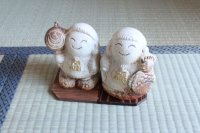 Shigaraki pottery Japanese doll ebisu daikoku lucky H125mm pair