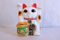 Japanese Lucky Cat Tokoname yaki ware Porcelain Maneki Neko ryoteage 10.2 inch
