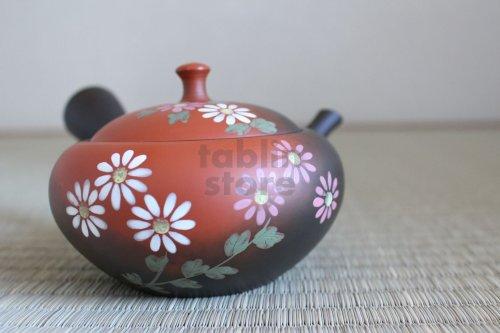Other Images3: Tokoname Japanese tea pot kyusu YT black yohen folwer Shoryu 270ml