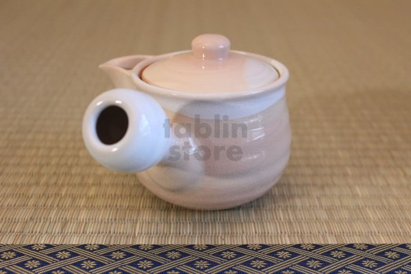 Photo2: Hagi yaki ware Japanese tea pot Hime M kyusu with stainless tea strainer 360ml