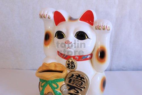 Other Images3: Japanese Lucky Cat Tokoname yaki ware Porcelain Maneki Neko ryoteage 10.2 inch