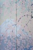 Photo2: Noren CSMO Japanese door curtain mt.fuji sakura cherry  85 x 150cm (2)