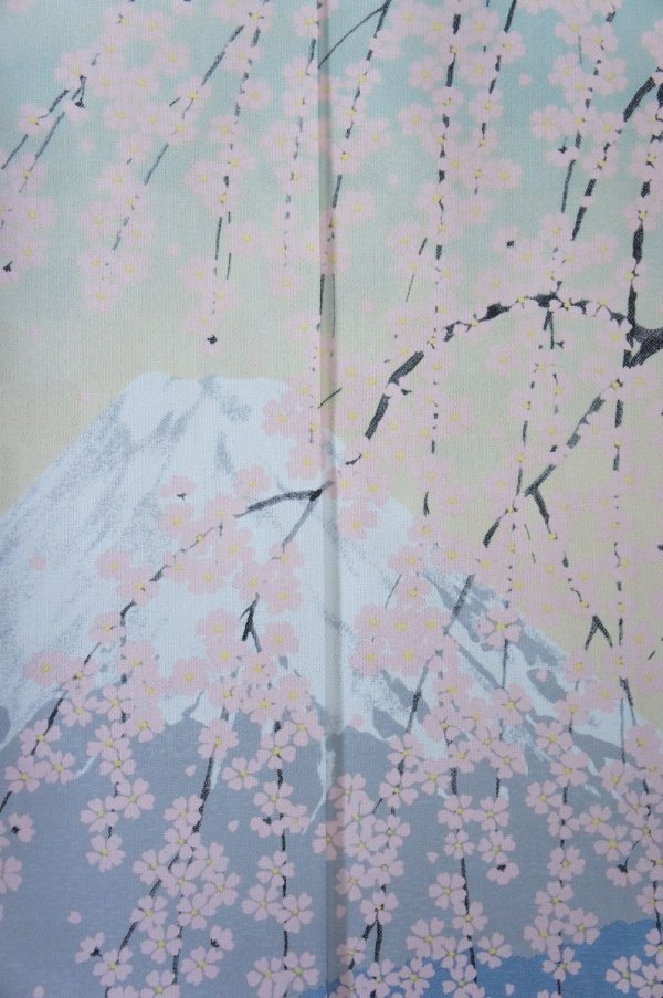 Photo2: Noren CSMO Japanese door curtain mt.fuji sakura cherry  85 x 150cm
