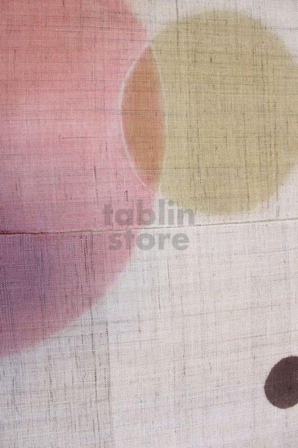 Photo2: Noren Mitsuru Japanese linen door curtain kusakizome polka dot 88 x 150cm