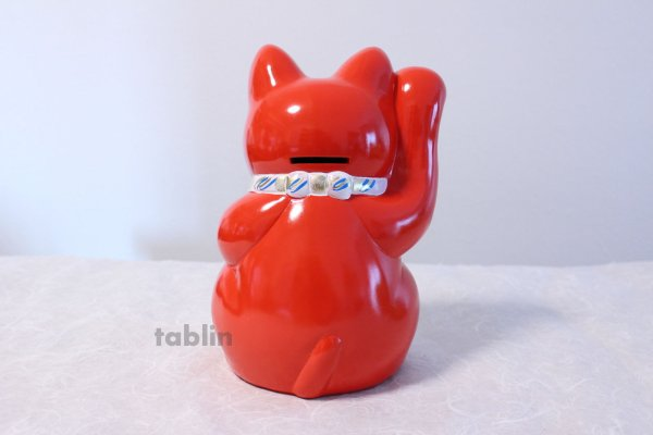 Photo2: Japanese Lucky Cat Tokoname ware YT Porcelain Maneki Neko koban right red H19cm