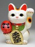 Photo11: Japanese Lucky Cat Tokoname ware YT Maneki Neko Daruma left hand H19cm
