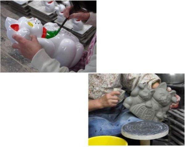 Photo2: Japanese Lucky Cat Tokoname YT Porcelain Maneki Neko ooiri left hand H25cm
