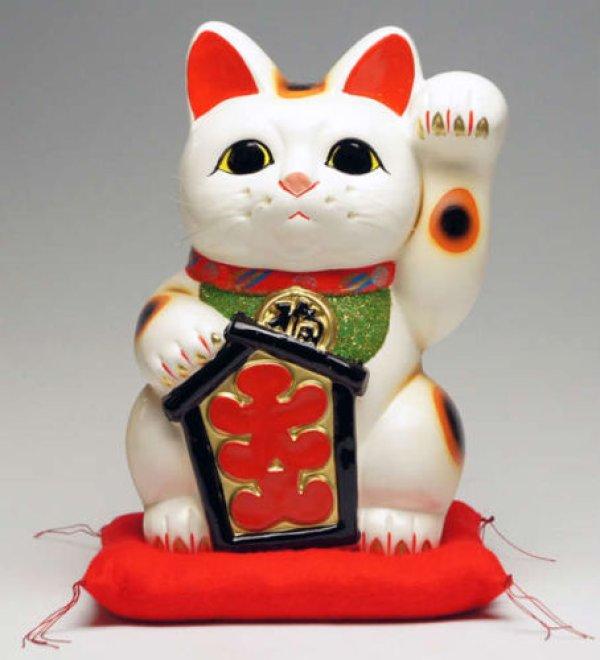 Photo1: Japanese Lucky Cat Tokoname YT Porcelain Maneki Neko ooiri left hand H25cm