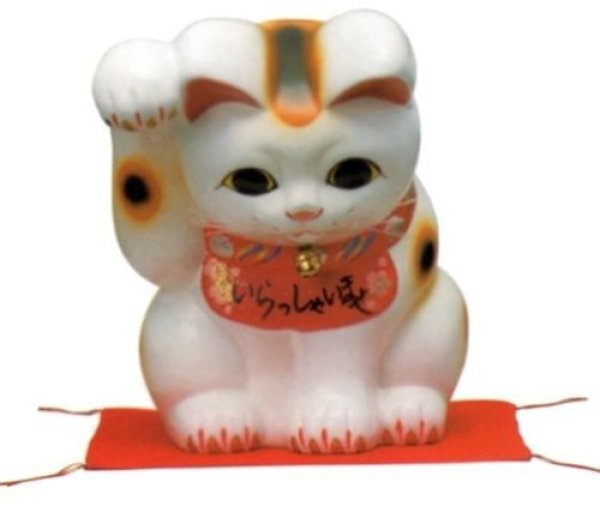 Photo1: Japanese Lucky Cat Tokoname YT Porcelain Maneki Neko bowing Right hand H25cm