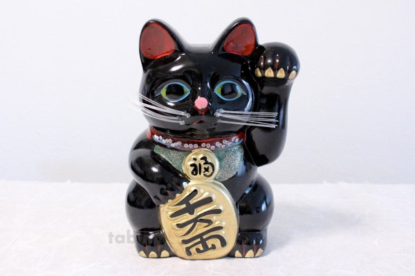Photo2: Japanese Lucky Cat Tokoname ware YT Porcelain Maneki Neko Kai black left h H19cm